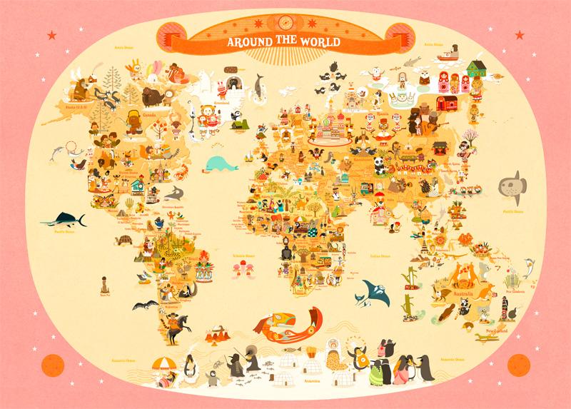 Tour du monde dans la chambre de mes enfants fais toi la belle for Planisphere enfant