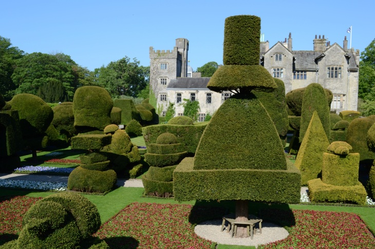 The historic Elizabethan house of Levens Hall and the pele tower and a celebrated topiary garden, which was started by a French gardener, Guillaume Beaumont in the 18th century.