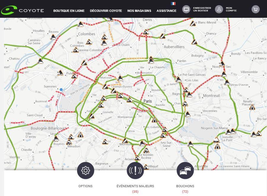 Une carte d'information trafic en tempsréel
